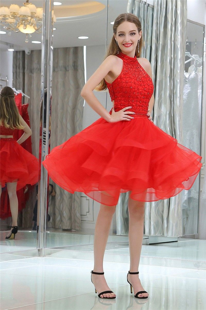 Ball gown halter short red tulle ruffle beaded cocktail