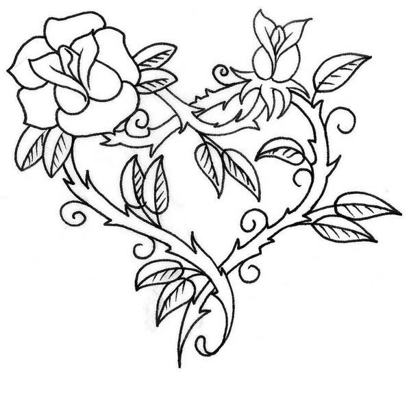 Hearts And Roses With Sharp Thorn Coloring Page Color Luna Heart Coloring Pages Rose Coloring Pages Hearts And Roses