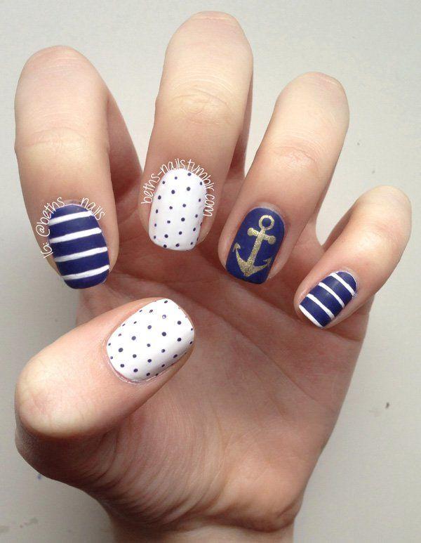 anchor nail art - 60 Cute Anchor Nail Designs - 60 Cute Anchor Nail Designs Anchor Nail Designs, Anchor Nails And