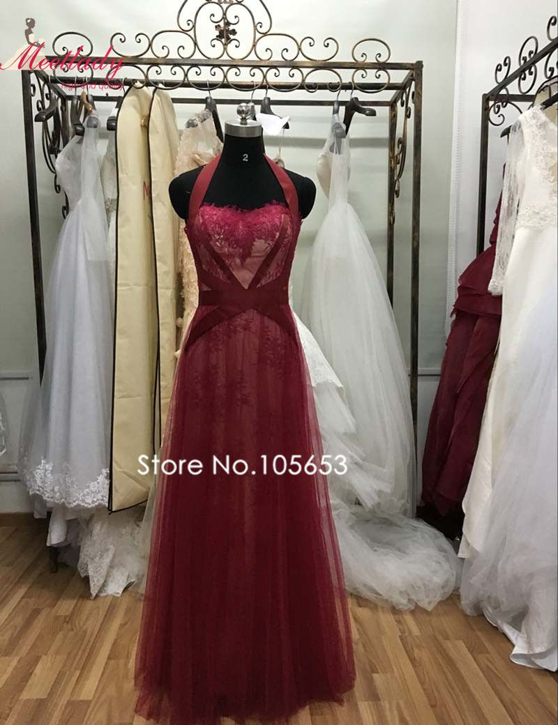 Click to buy ucuc real samples sexy halter red lace evening dress long