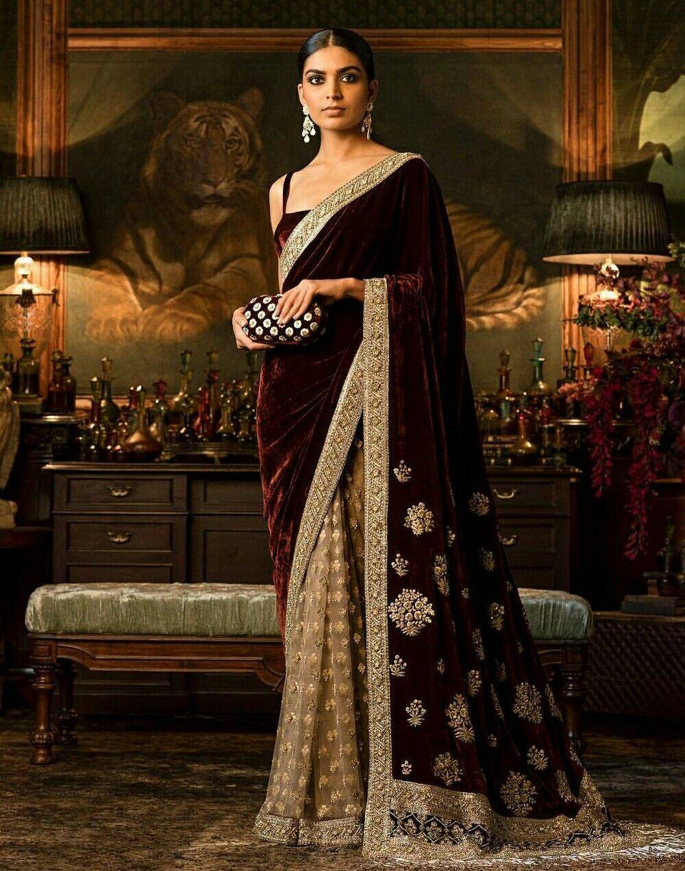 Sabyasachi velvet saree | style & more... | Pinterest