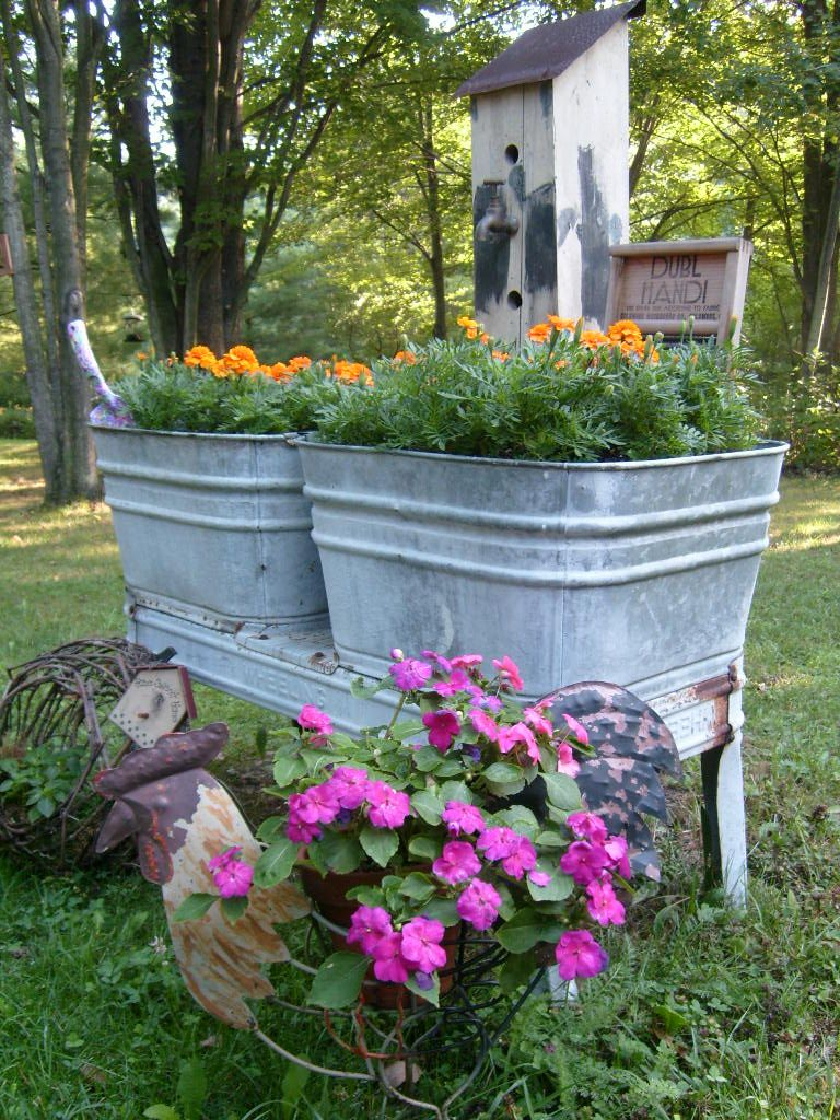 old washtub planter outside decorating pinterest