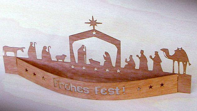 Weihnachtsfiguren - Krippe 'Frohes Fest' in Echtholz-Furnier (Zeder) - ein Designerstück von Mach-Einzigartiges bei DaWanda
