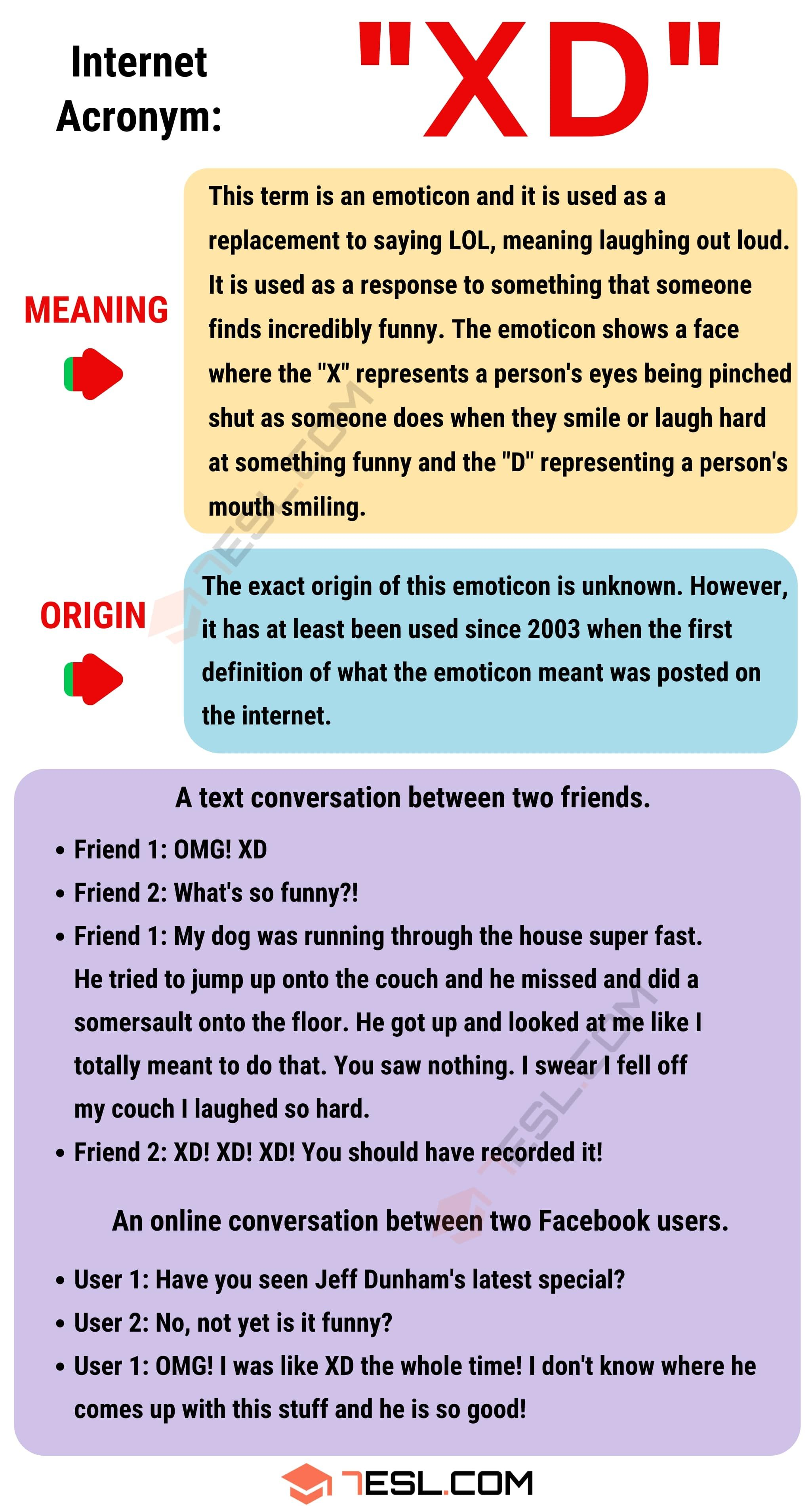 Xd Meaning How To Use This Popular Term Xd With Examples 7esl Slang Words Learn English Words Meant To Be