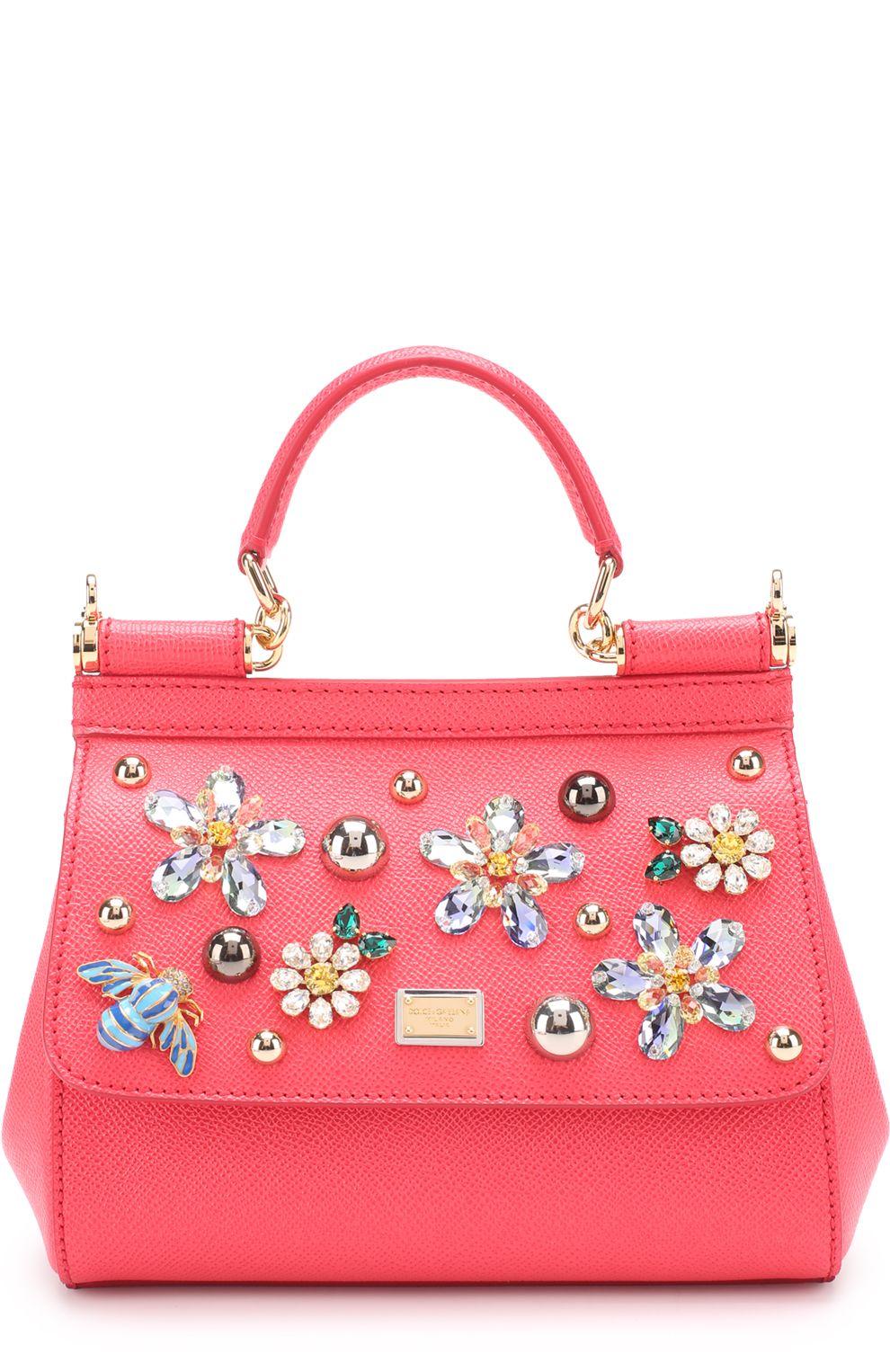 Женская розовая сумка Sicily Small с отделкой кристаллами Dolce Gabbana