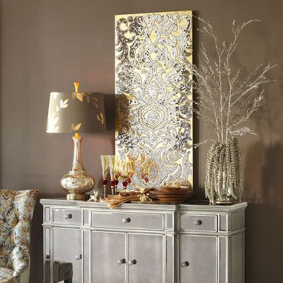 Champagne Mirrored Mosaic Damask Wall Panel | Bedrooom ...