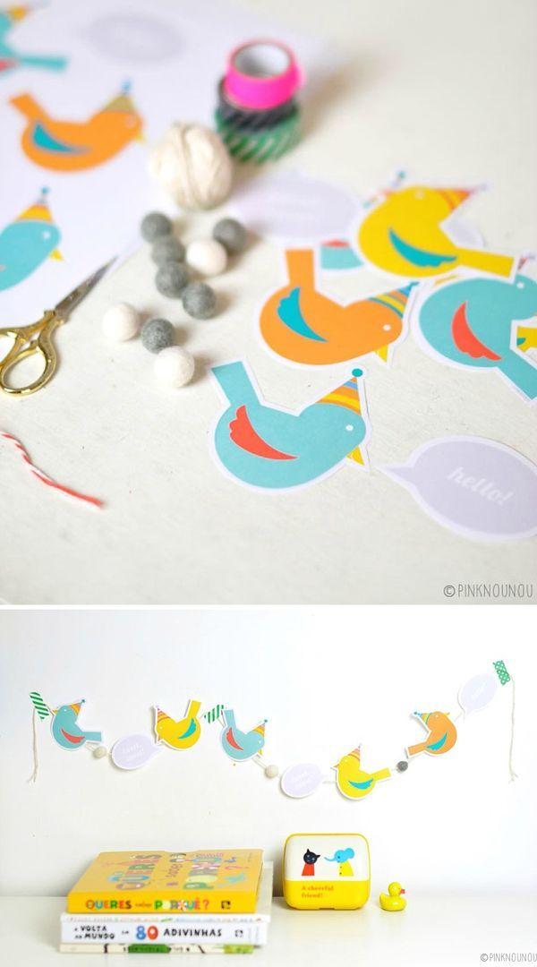 Cute Free Printable Paper Bird Garland