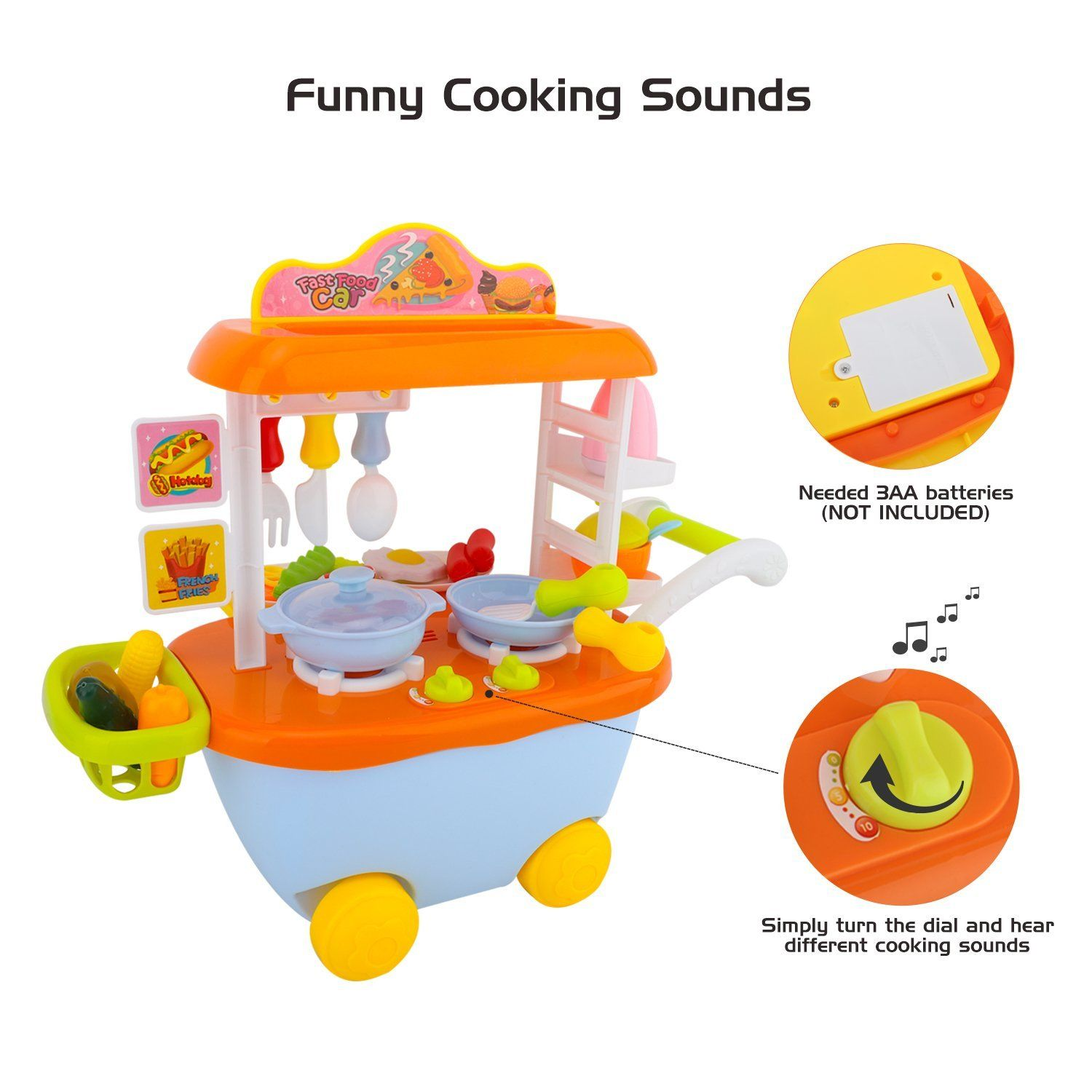 85344664c92 Zooawa Fast Food Truck Play Set with Cooking Sound  34 PCS  Kids Food Play