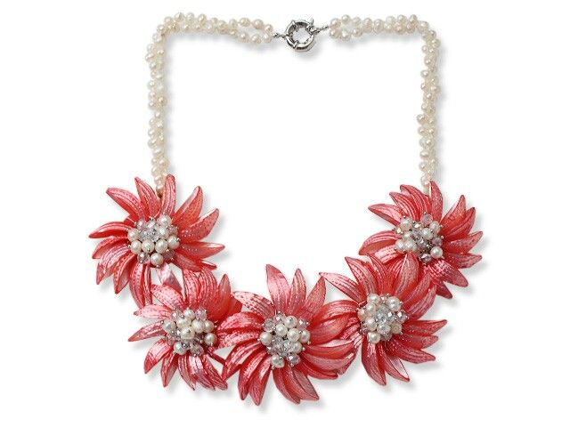 Freshwater pearls and Red Shell Flowers with Crystal £59.00 www.louiesgems.co.uk