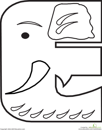 Letter E Coloring Page | Animal alphabet, Animal and Alphabet letters