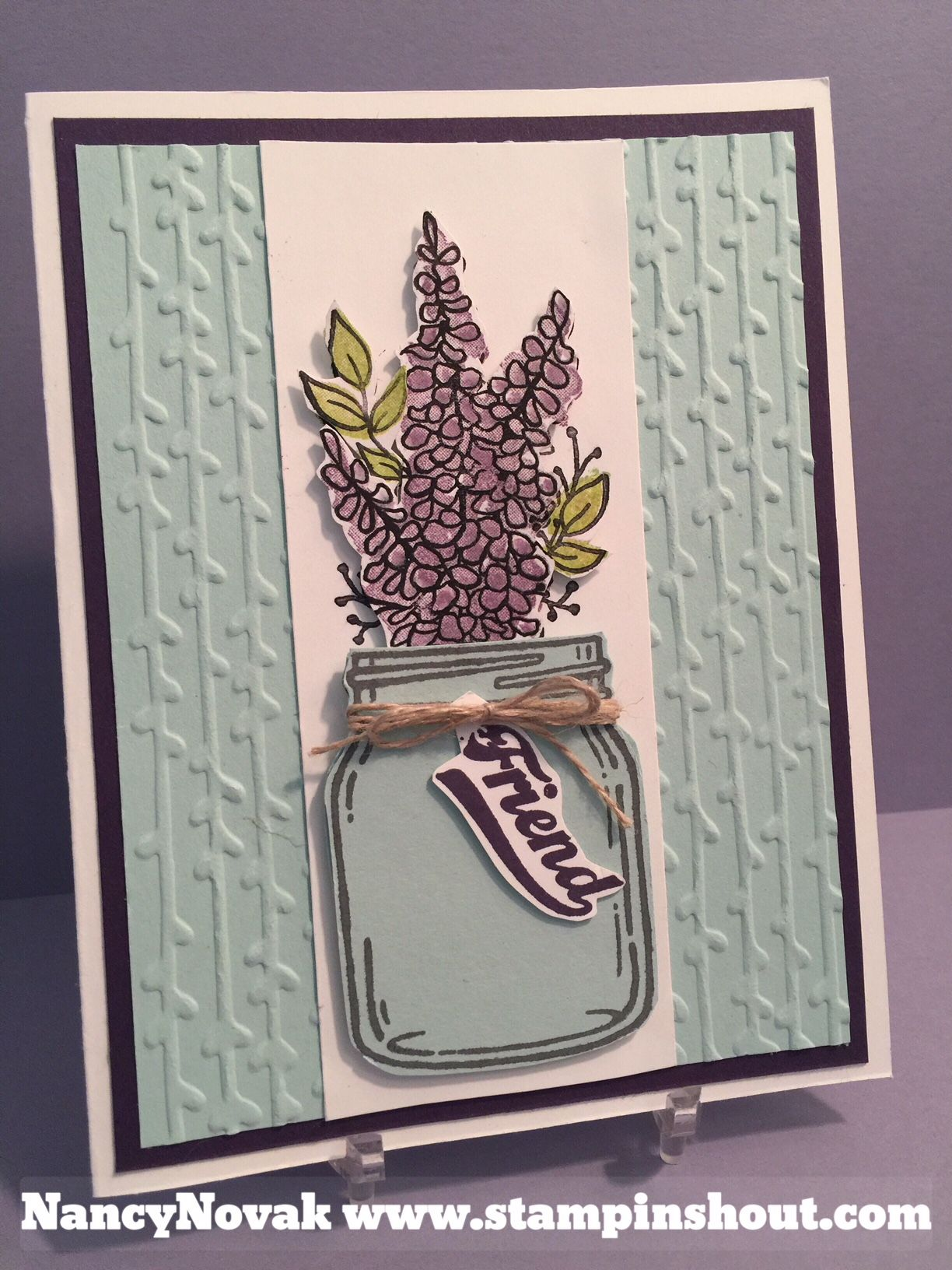 Lots Of Lavendar In Jar Of Love Mason Jar Cards Flower Cards Stampin Up Cards