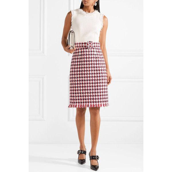 Best Store To Get Online Fringed Houndstooth Cotton-blend Tweed Dress - Red Oscar De La Renta Original Cheap Online Store For Sale Sale Online Outlet Websites 2ZTsq