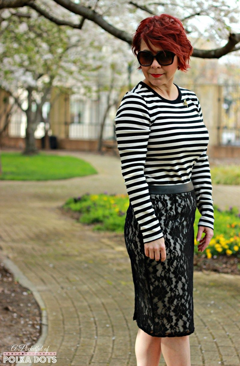 Striped Tee & Lace Skirt - A Pocketful of Polka Dots