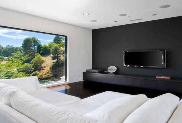 5 Trends That Solve The Most Common Design Problems Black Walls Living Room Accent Walls In Living Room Black Accent Walls