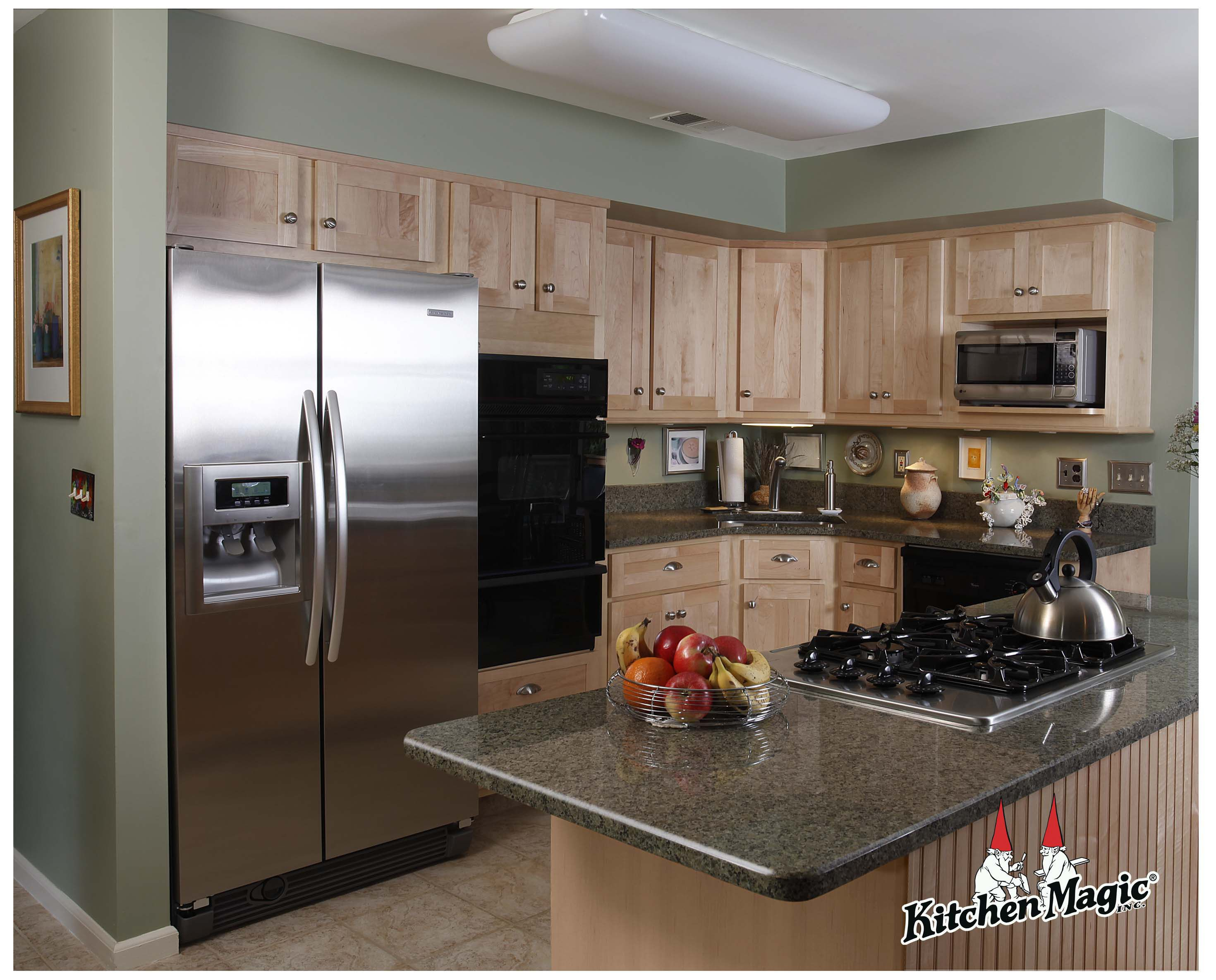 Natural Maple Wood Cabinets. Granite Countertop ... on Granite Countertops With Maple Cabinets  id=62070