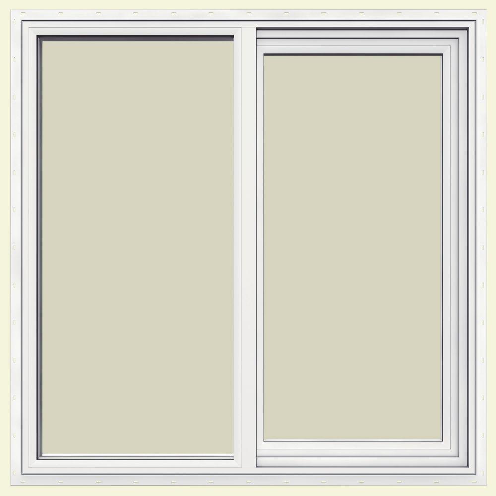 Jeld Wen 47 5 In X 47 5 In V 2500 Series White Left Hand Vinyl Sliding Window With Fiberglass Mesh Screen In 2020 Fiberglass Mesh Vinyl Sliding Windows Window Vinyl