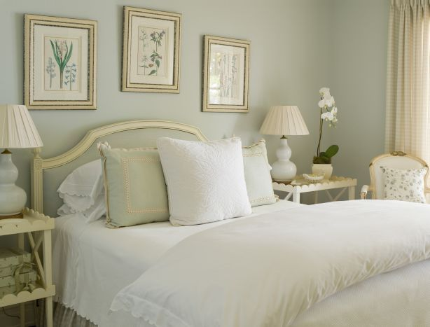 Phoebe Howard - bathrooms - French, bed, blue, headboard, pale, gray, walls, ivory, scallop, nightstands, baby blue, double gourd, lamps, bo...