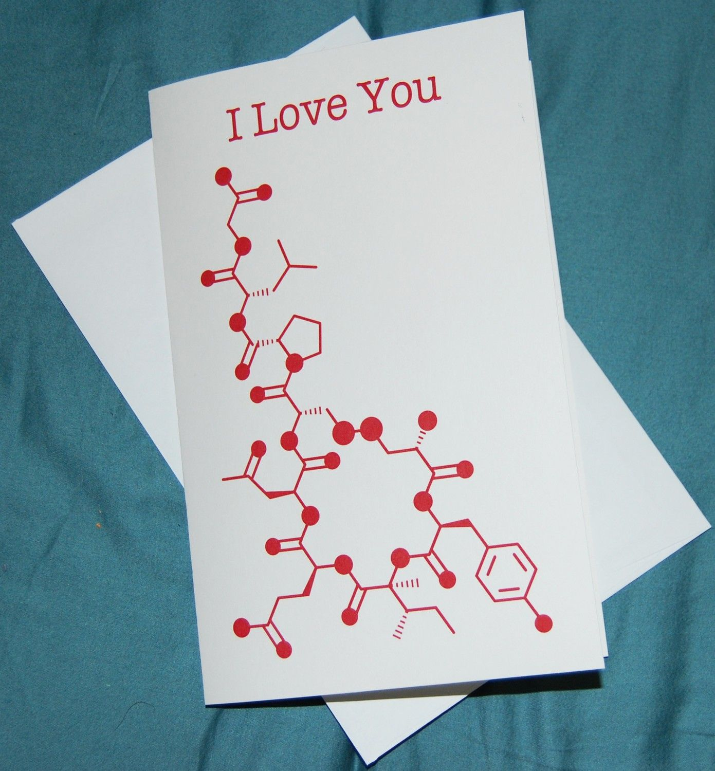 Oxytocin I Love You Chemistry Nerd Greeting Card Red