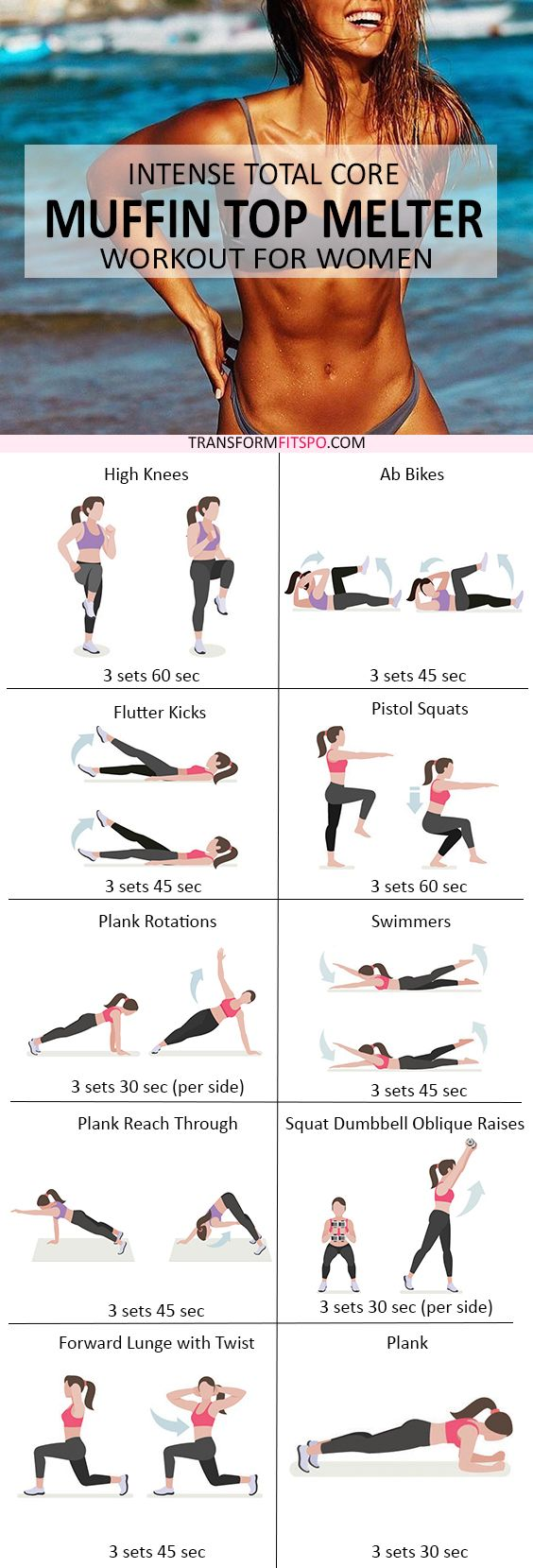 Intense Total Core MUFFIN TOP MELTER - Ladies! This Rapid Workout Destroys Belly Fat FAST #coreworkouts