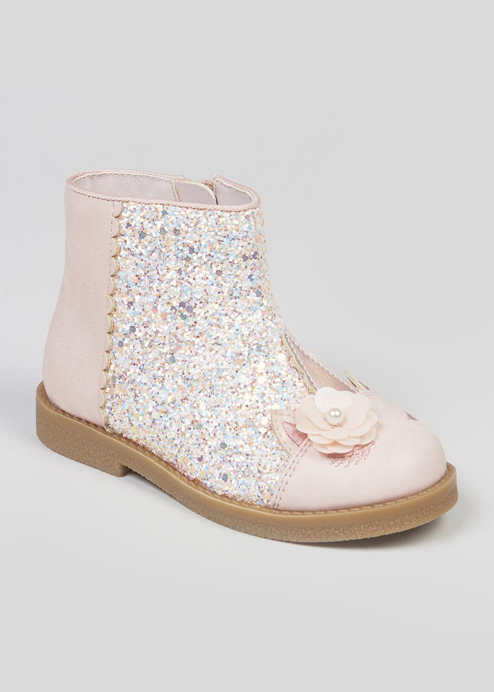 bb0bbebd864f Girls Unicorn Glitter Boots (Younger 4-12) – Pastel Pink – Matalan