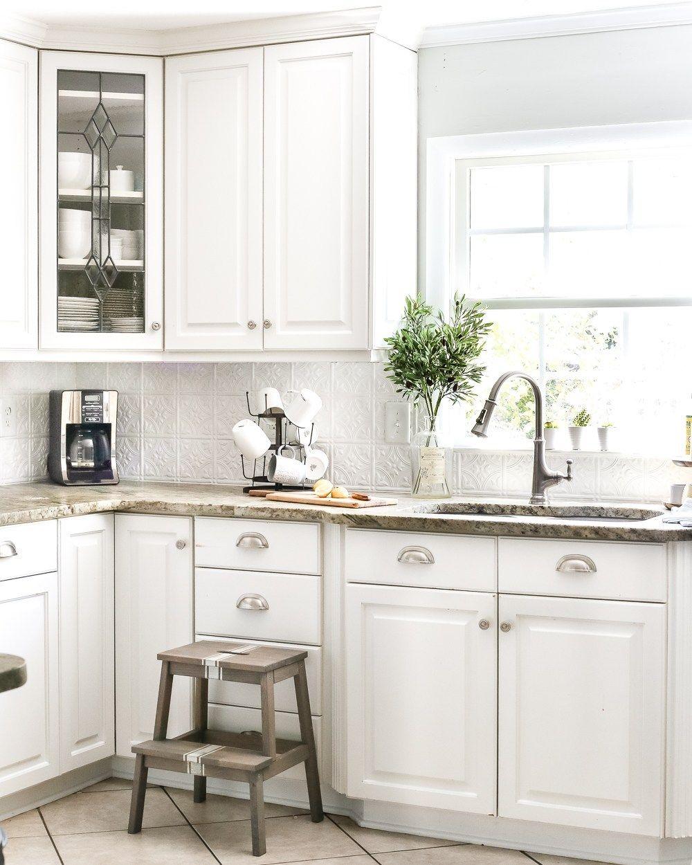 Diy Pressed Tin Kitchen Backsplash Bless Er House In 2020 Green Kitchen Cabinets Kitchen Cabinet Inspiration Kitchen Design Diy
