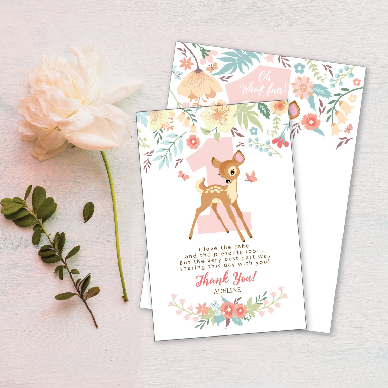 Baby Deer First Birthday Thank You Card Customized Printable DIY