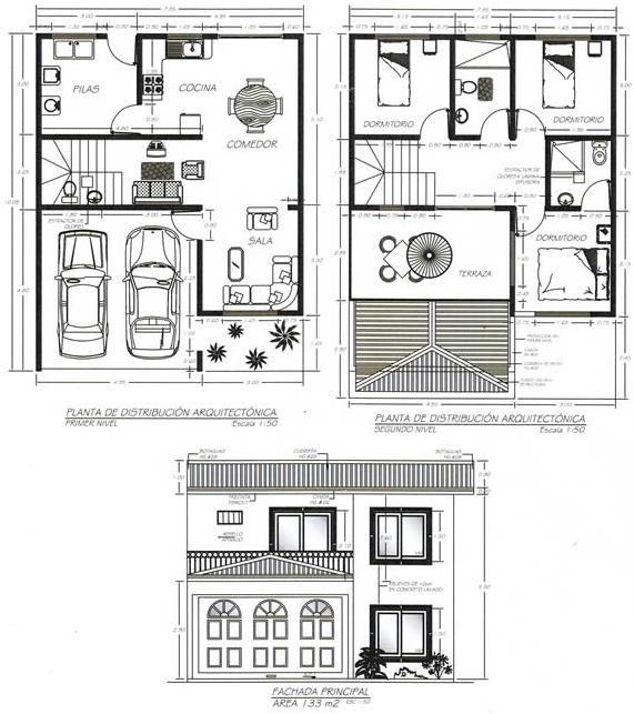 Plano de casa de dos plantas y tres dormitorios con for Fachadas modernas de casas de dos plantas