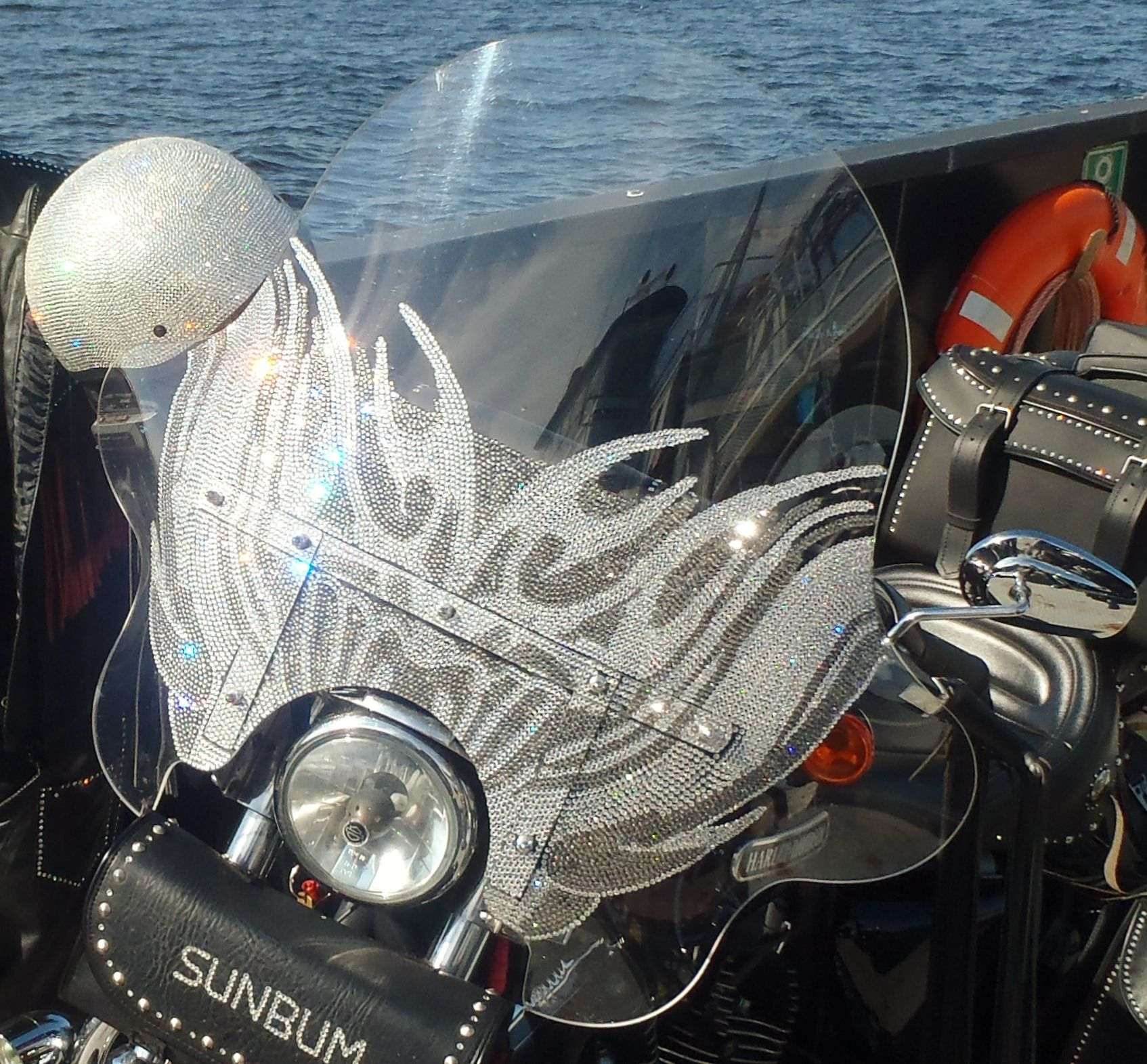 Blinged out my harley 39 s windshield not to mention the for How much to paint a motorcycle