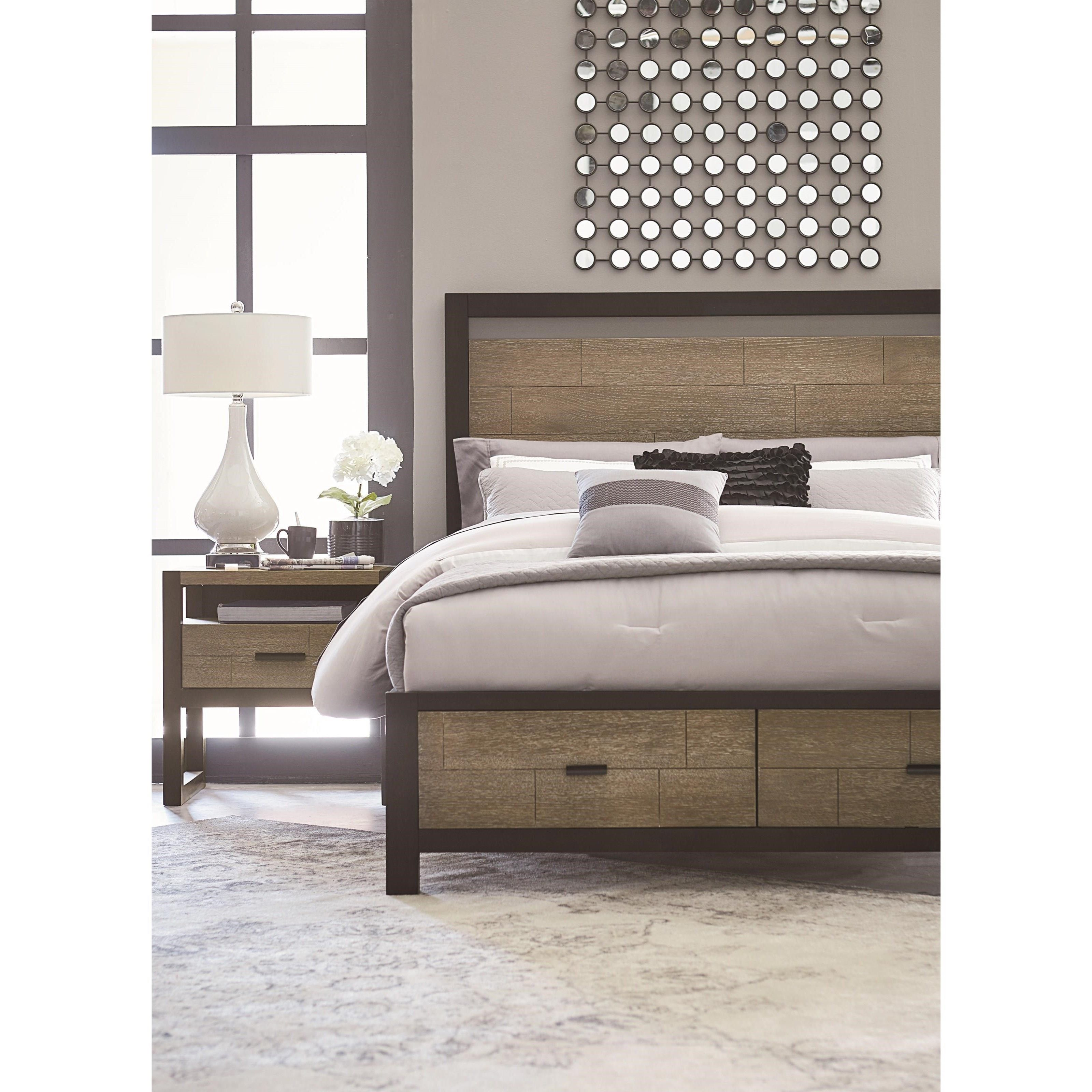 Queen Complete Panel Bed with Storage Footboard