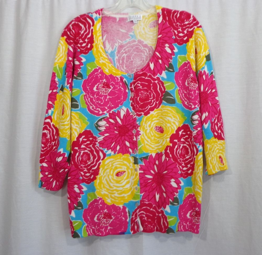 Womens JOSEPH A Colorful Floral Button Front ¾ Sleeve Cardigan Sweater, Size XL #JosephA #Cardigan