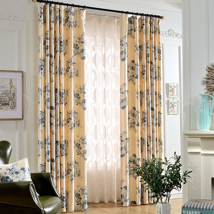 Blue Velvet American Finished Printing Simple Shading Curtain Curtains For Living Dining Room Bedroom Curtains Living Room Painted Curtains Home Textile