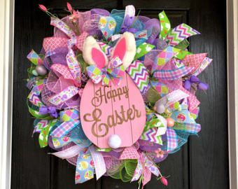 Spring Deco Mesh Wreath  Easter Wreath by BlondeMoxie on Etsy