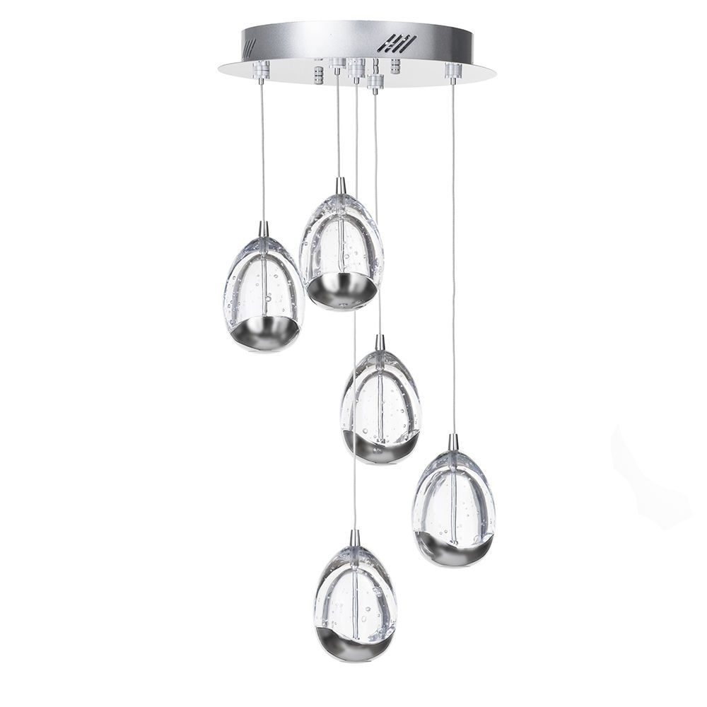Bulla 5 Light LED Spiral Cluster Ceiling Pendant Light - Chrome From ...