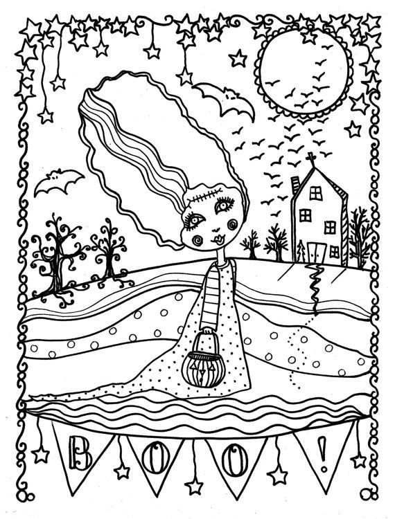 Halloween Instant Download Coloring Page You Get To Upload This Immediately Frankensein Girl Scarry Little