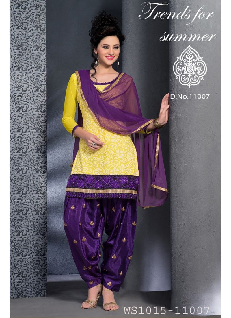 New Fashion Yellow And Purple Patiala Salwar Suit Fashion Punjabi Outfits Punjabi Fashion