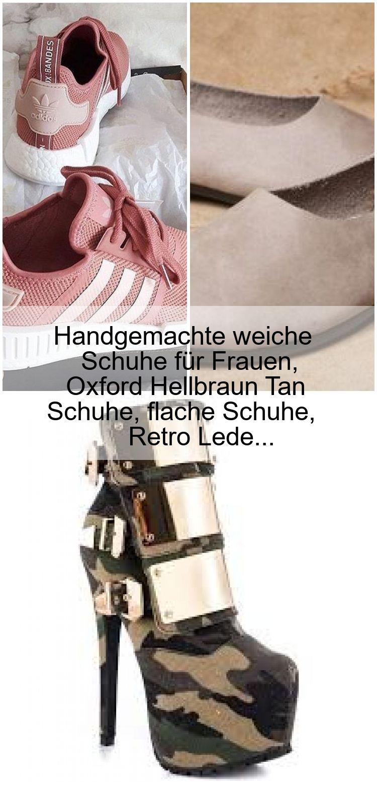 Handgemachte weiche Schuhe für Frauen, Oxford Hellbraun Tan