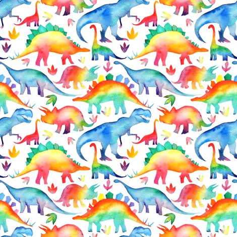 Rainbow Watercolour Dinosaurs - smaller scale fabric by emmaallardsmith on Spoonflower - custom fabric