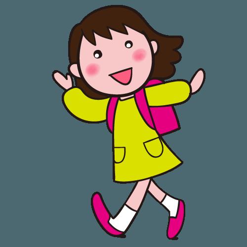 手を振って元気に挨拶するランドセルの小学生 女の子 イラスト Gogons