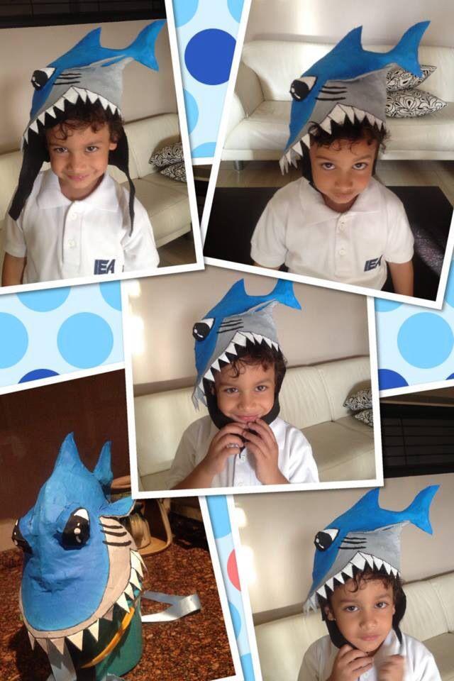 937679a983ff9 Sombrero de tiburón para el día de los sombreros locos del cole! Cartón y  papel