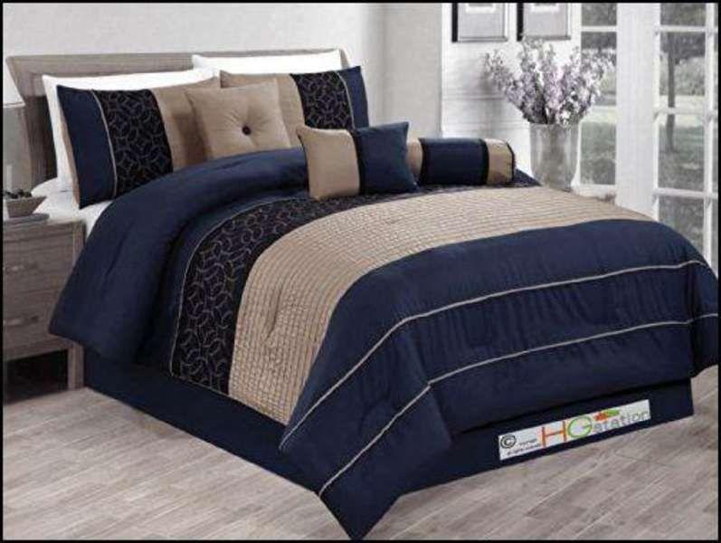 Navy Blue And Brown Bedding Comforter Sets Modern Comforter