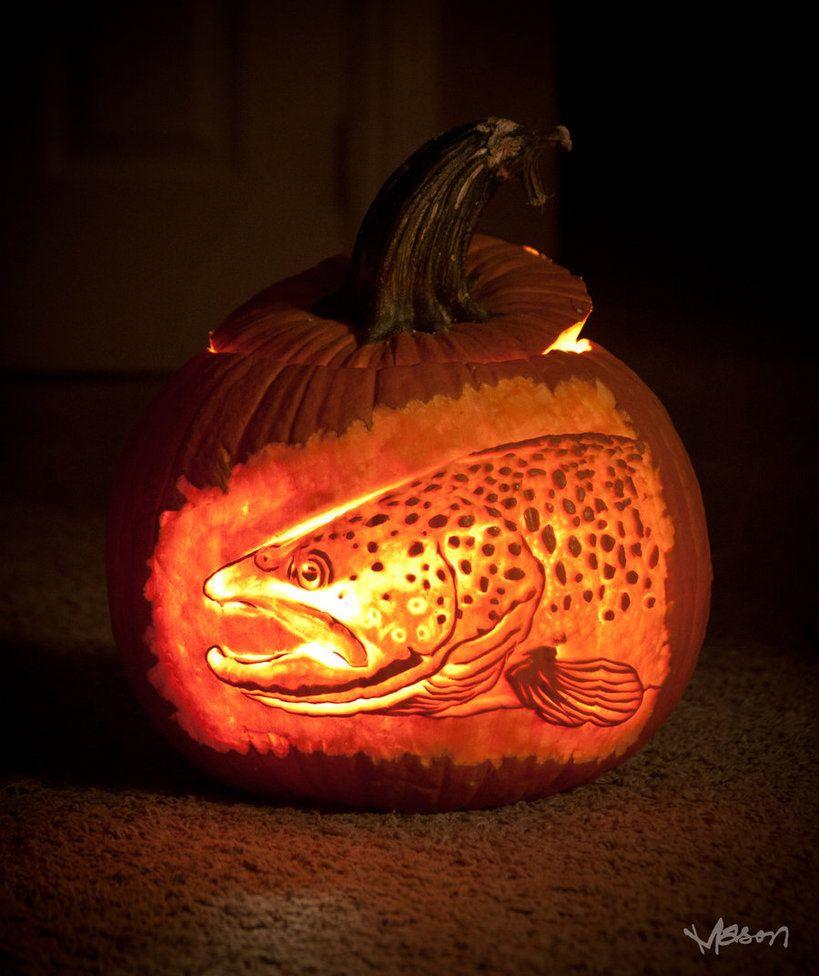 Brown trout pumpkin by masonfetzer best fishing theme