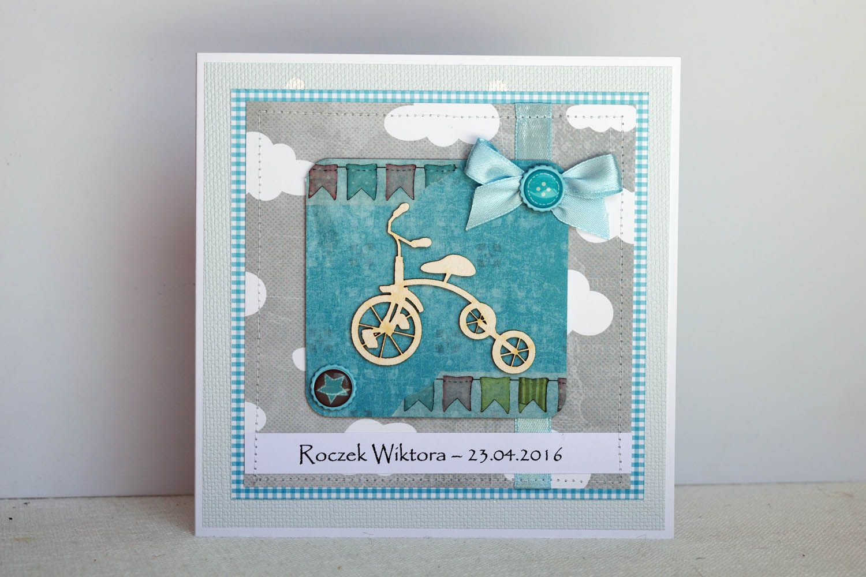 Kartka Z Rowerem Okazji Pierwszych Urodzin Dla Chlopca Kartka