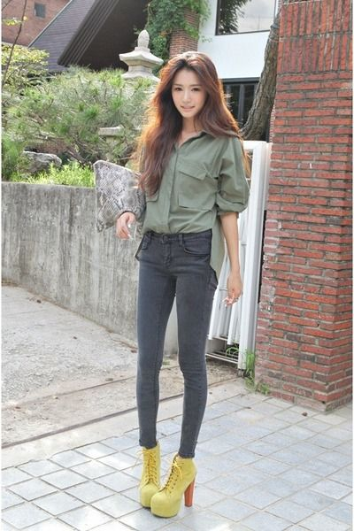 Olive Green Shirt Dark Gray Pants Fashion Ulzzang Fashion Asian Fashion