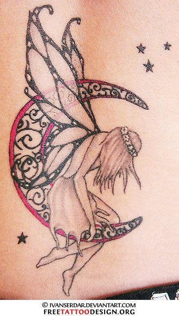 Tattoo of a fairy sitting on the moon tattoos