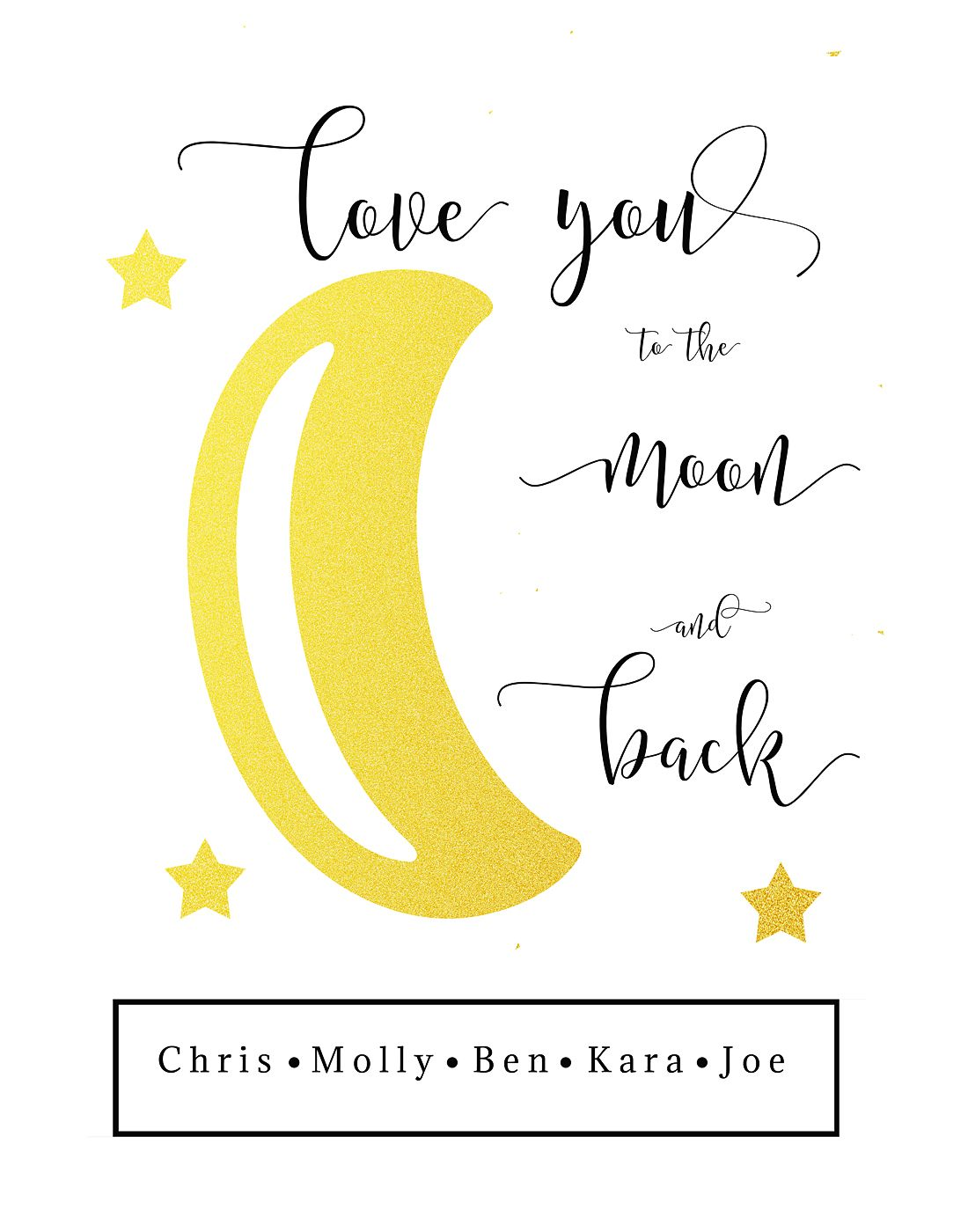 6540db855c Love You to the Moon and Back Family Motto Printable Personalized Family  Motto Printable Family Sign Love you moon and back Gold Glitter Gallery  Wall Art ...