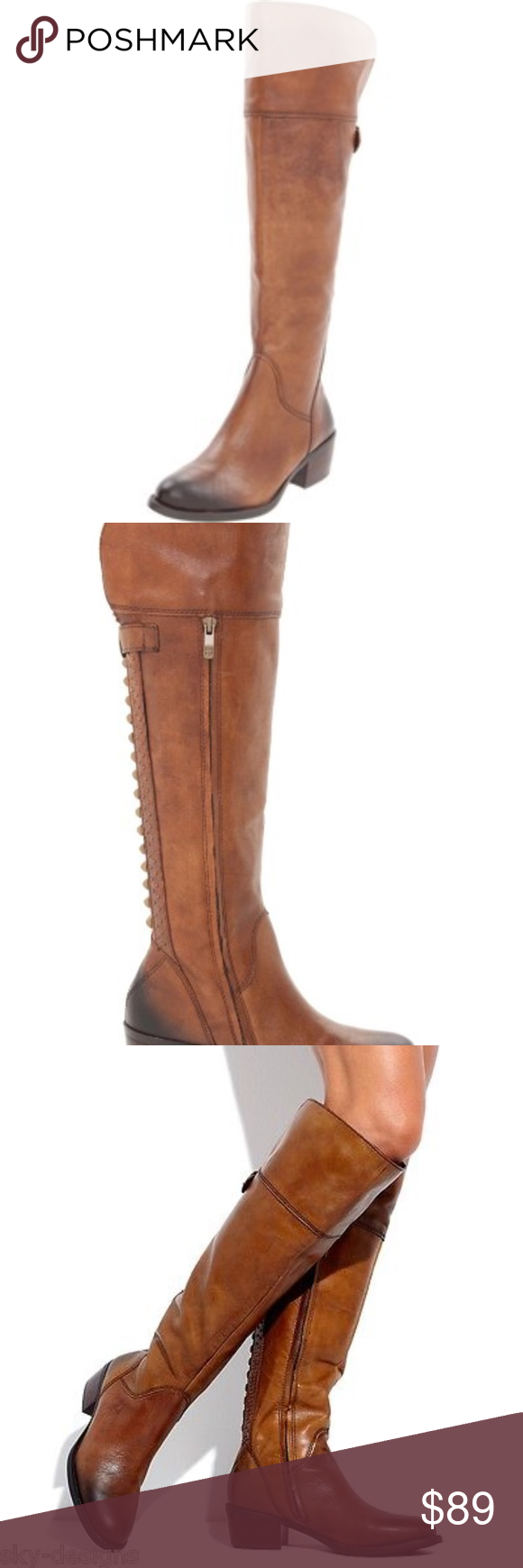 92aa033f359 Vince Camuto Camel Bollo Knee-High Leather Boot The Bollo is a round toe  tall