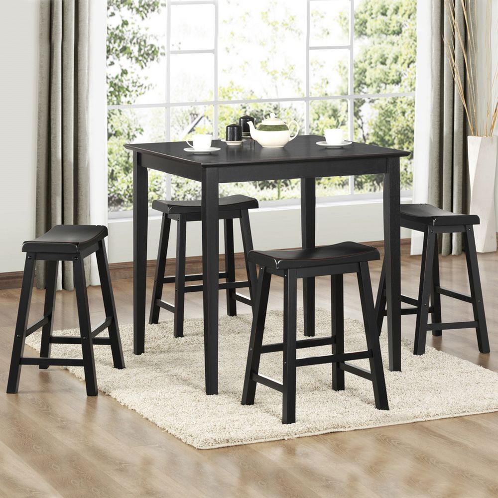 Salvador Black 5-piece Pub Set with 24-inch Stools by iNSPIRE Q Bold by  iNSPIRE Q