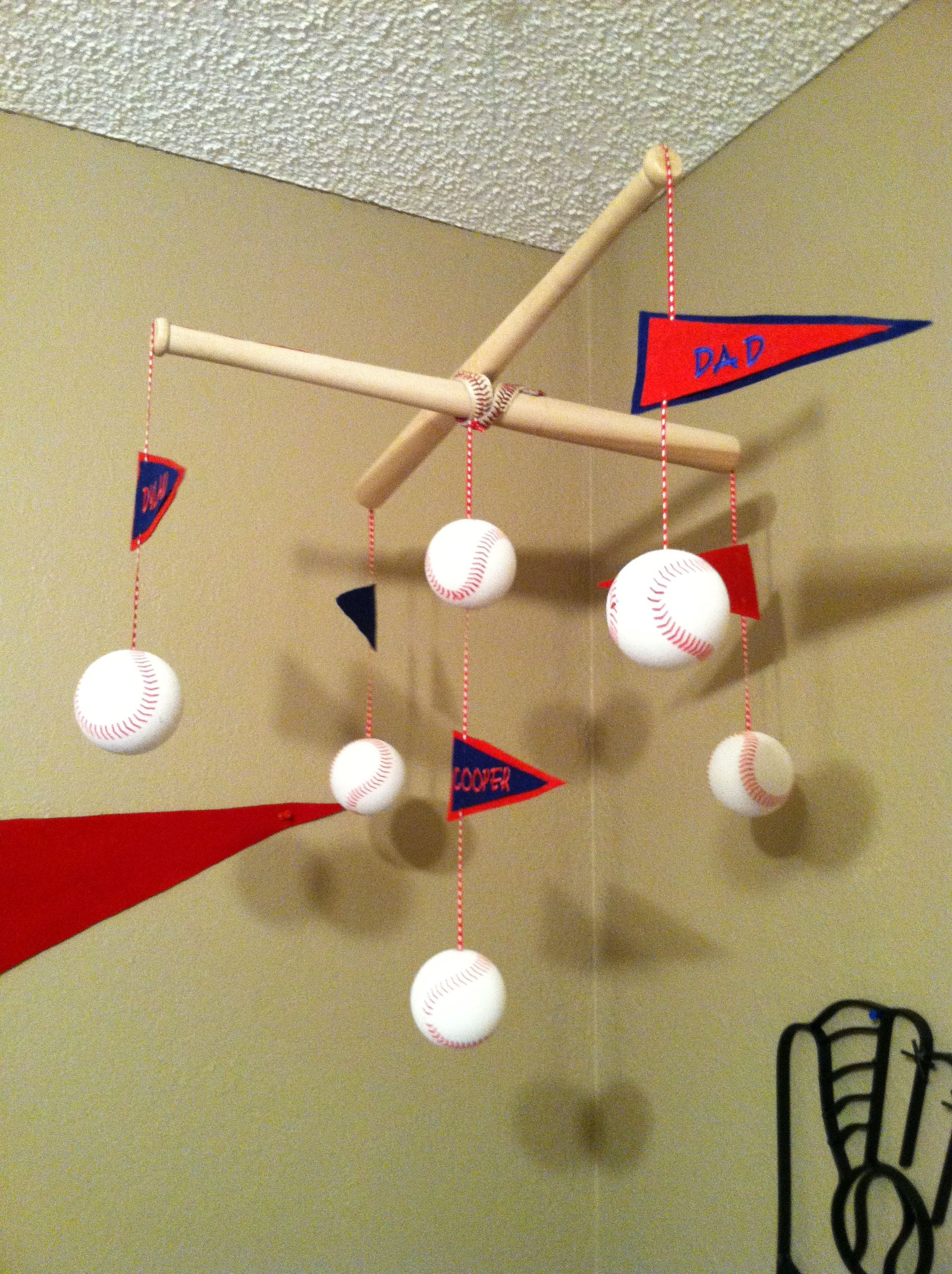 homemade baseball baby mobile diy baseball pinterest homemade babies and nursery. Black Bedroom Furniture Sets. Home Design Ideas