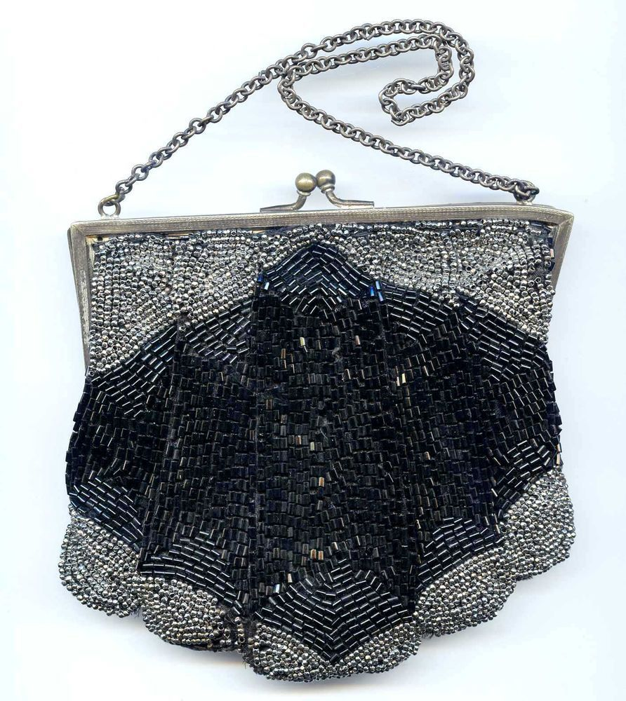 Antique Black & Faceted Steel Bead Purse with Mirror Silver Plate Frame & Chain