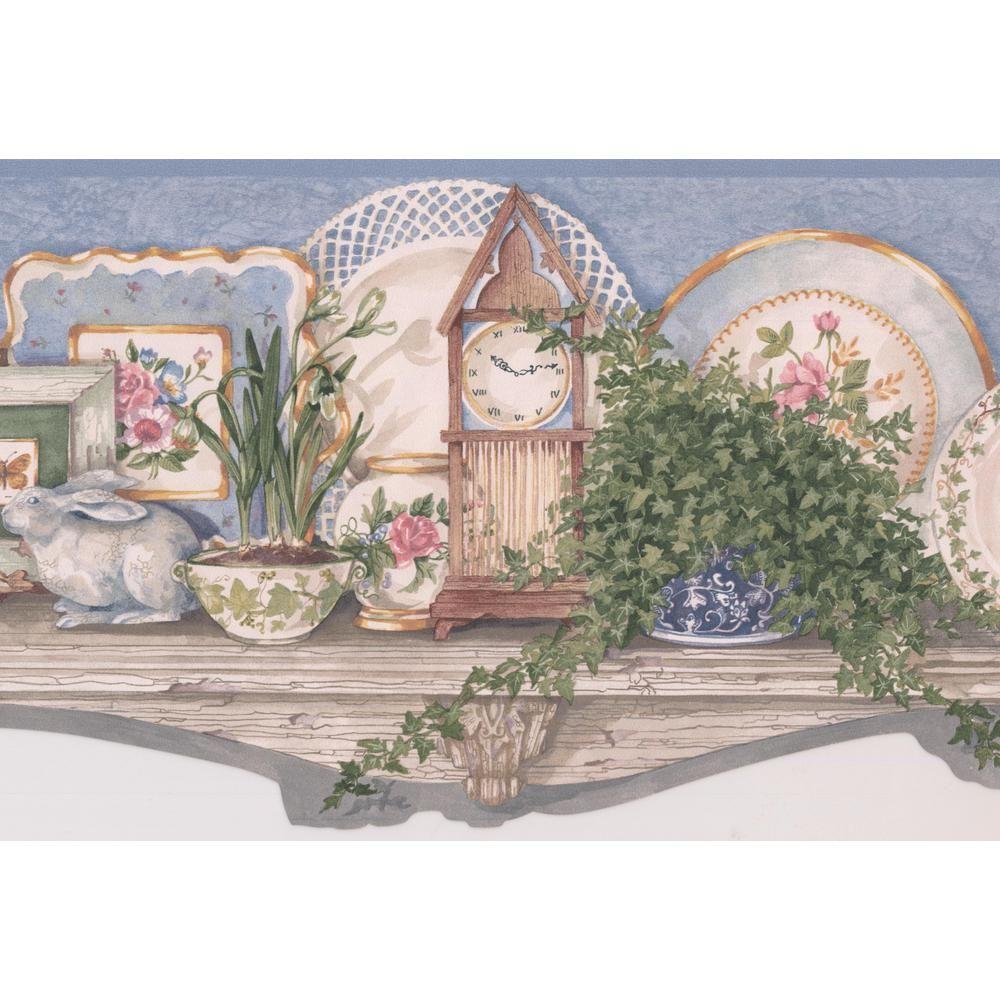 Retro Art Country Kitchen Wood Shelf Plates Clock Greens